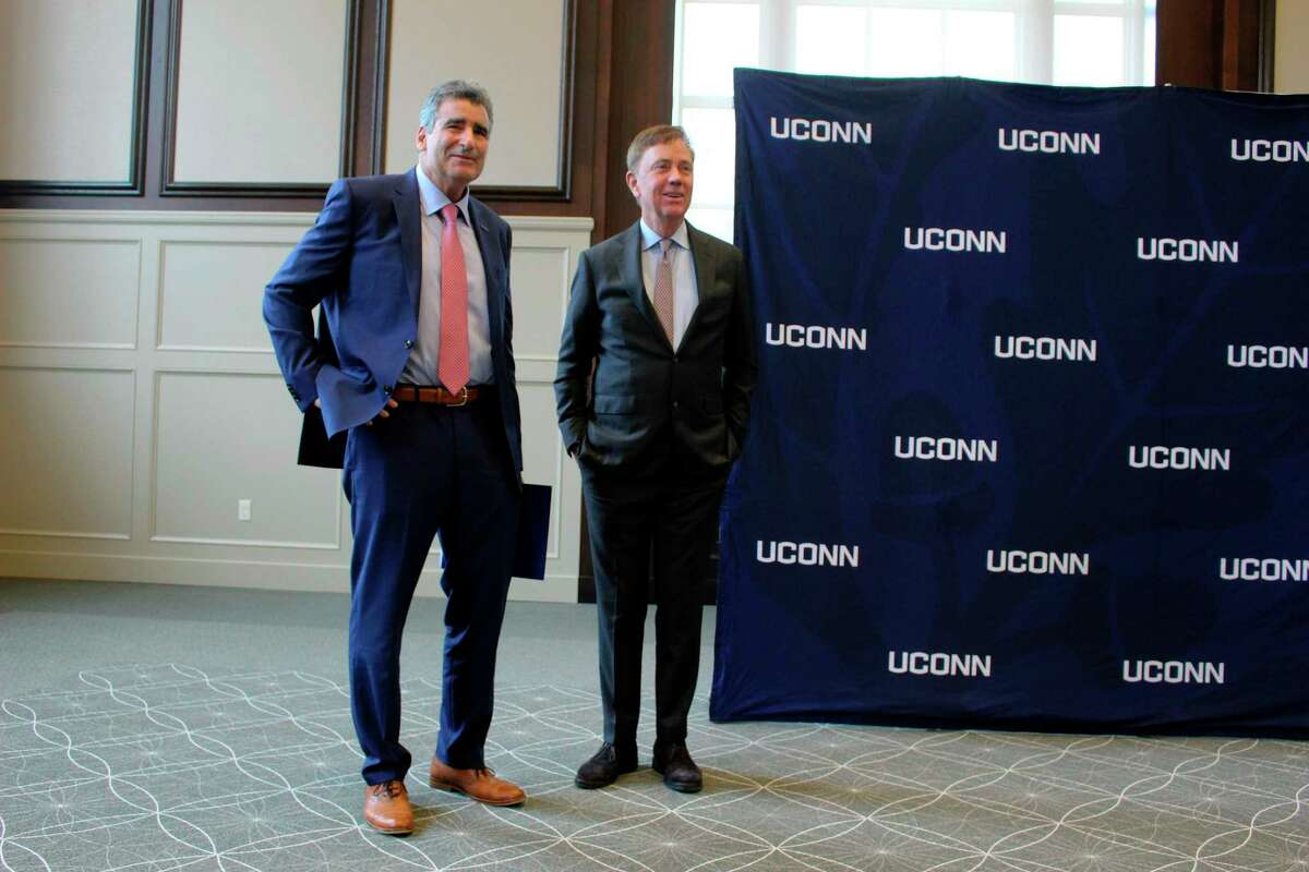 University of Connecticut President Thomas C. Katsouleas and Gov. Ned Lamont on Tuesday, Feb. 5, 2019 in Storrs, Conn. Lamont called UConn one of the leaders in agricultural research. UConn began as an agricultural school more than a 130 years ago and has had a poultry farm on its Storrs campus since the 1940's where the main focus is on raising breeder and egg-laying poultry. In 2005, a Poultry Resource Unit was added to provide insight into the evolution of poultry management through the various penning, feed and water systems.
