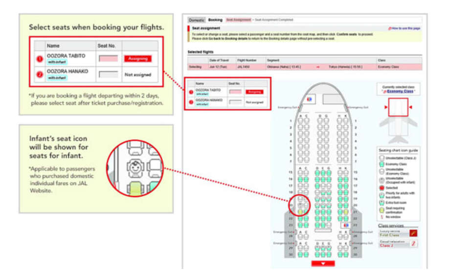 Japan Airlines passengers who select a seat on the carrier's website can see if there's a baby sitting near them. Photo: Japan Airlines