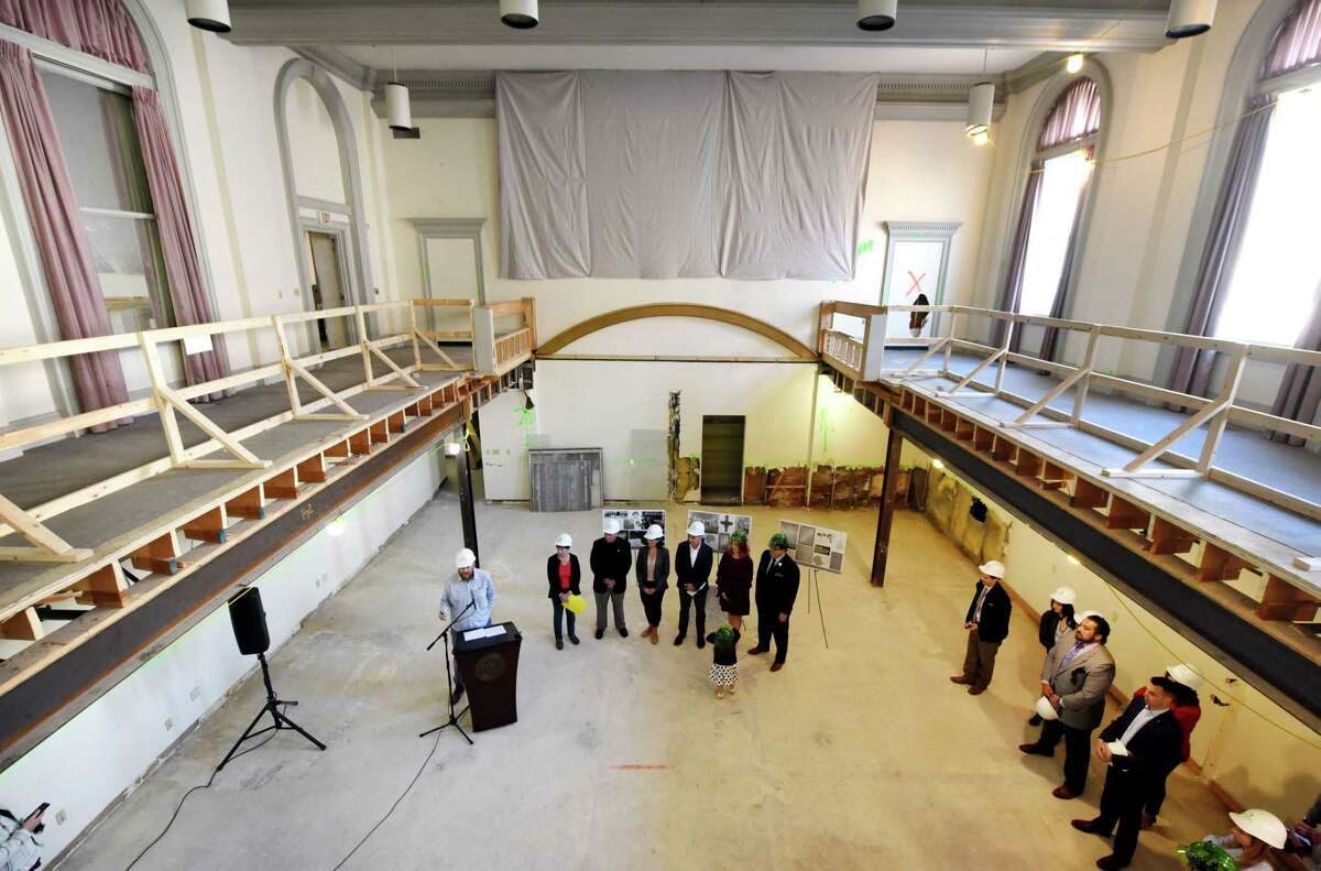 Jeff Buell, principal of Redburn Development, speaks during a media event to announce that the Kenmore Ballroom, a wedding and special events venue, will be run by Katie O'Malley and her husband, Nate Maloney, on Friday, Sept. 27, 2019, at the Kenmore Building in Albany, N.Y. The venue, once known as the Rain-bo-Room, can accommodate up to 300 people for seated functions. (Will Waldron/Times Union)