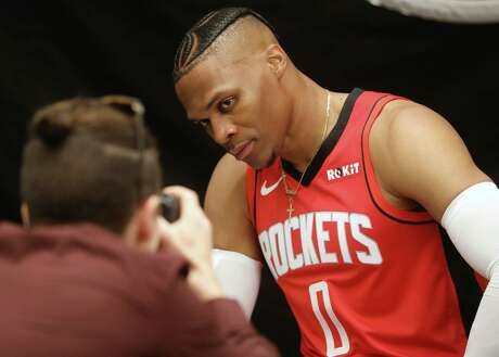 Houston Rockets guard Russell Westbrook (0) poses for a photo during Houston Rockets Media Day on Friday, Sept. 27, 2019, in Houston.