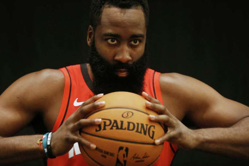 Houston Rockets guard James Harden (13) poses for a photo during Houston Rockets Media Day on Friday, Sept. 27, 2019, in Houston.