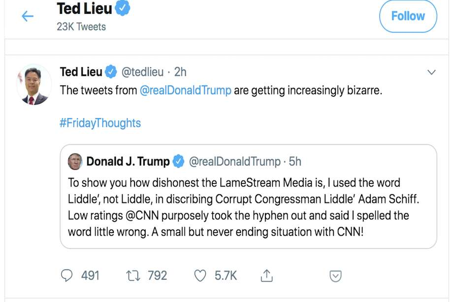 "Twitter responds to President Donald Trump's tweet calling out CNN for misspelling ""Liddle"" in a chyron. Photo: Twitter"