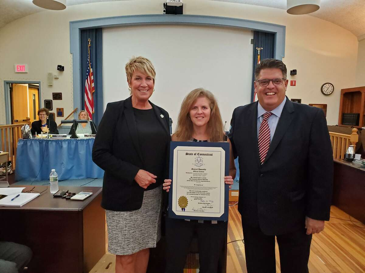 State Reps. David Rutigliano (R-123), Laura Devlin (R-134) with Madison Middle School and Teacher of the Year Lisa Cerulli.