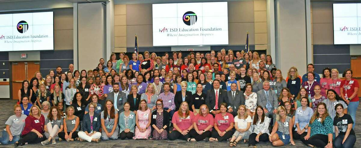 Trustees in the Katy Independent School District recently honored more than 350 district teachers who are the recipients of grants through the Inspiring Imagination program of the Katy ISD Education Foundation. This year's grant recipients are pictured with trustees and board officers of the foundation.