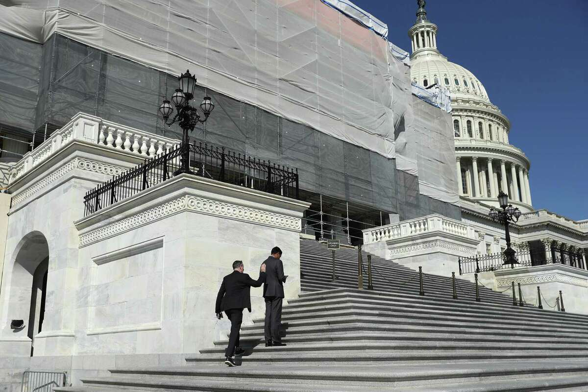 WASHINGTON, DC - SEPTEMBER 27: Members of the House of Representatives head into the U.S. Capitol Building ahead of final votes before a two-week state work period September 27, 2019 in Washington, DC. Following the release of a whistle-blower complaint claiming abuse of power by President Donald Trump, the House Democratic leadership announced this week that it is launching a formal impeachment inquiry. (Photo by Chip Somodevilla/Getty Images)