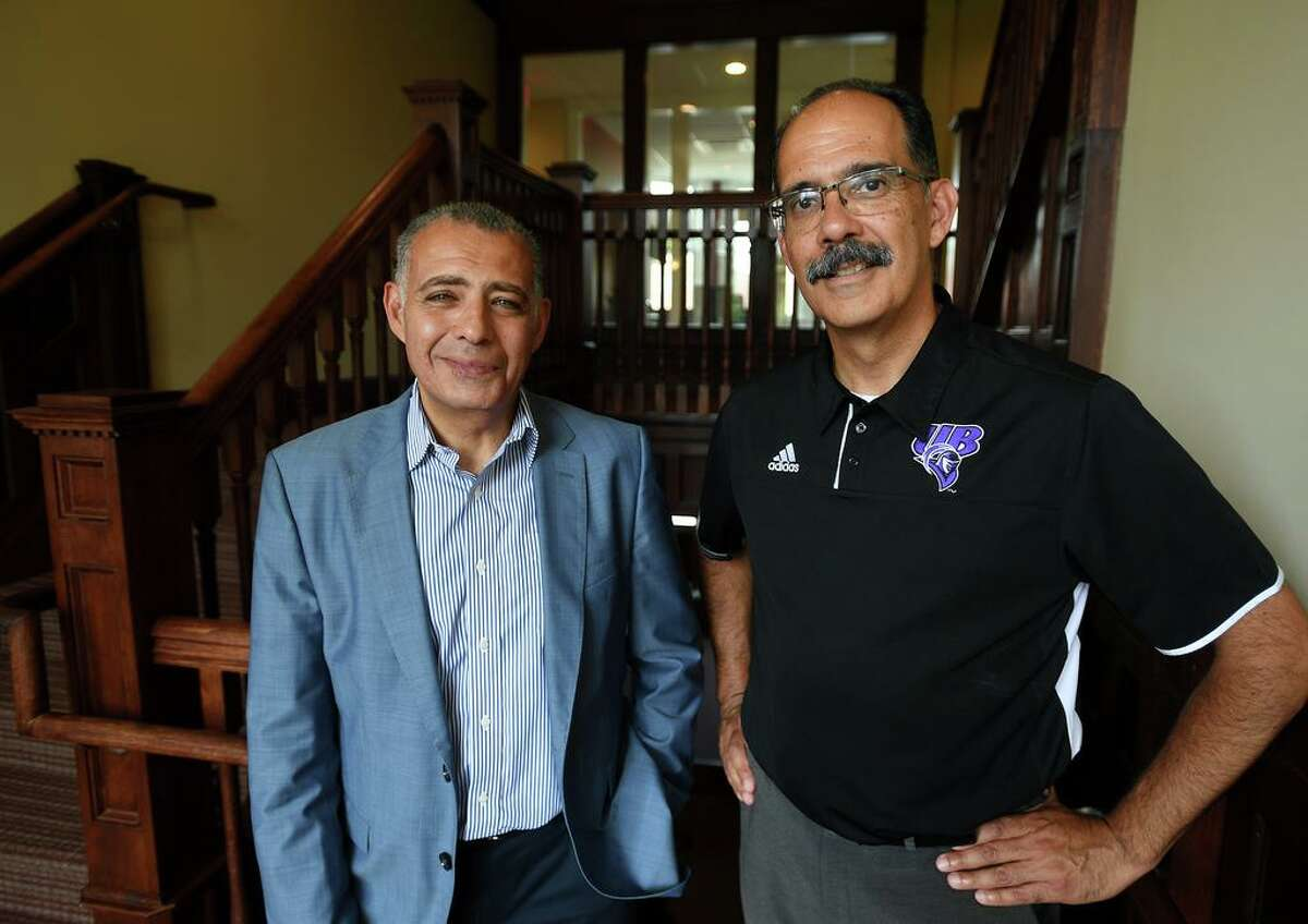 Dean of the College of Engineering, Business, and Education Tarek Sobh, left, and Vice President for Facilities George Estrada in the newly renovated Bauer Hall Innovation Center at the University of Bridgeport in Bridgeport, Conn. on Thursday, September 26, 2019.