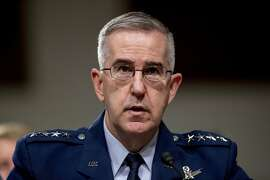 FILE - In this April 11, 2019, file photo, U.S. Strategic Command Commander Gen. John Hyten testifies before a Senate Armed Services Committee hearing on Capitol Hill in Washington. The Senate has confirmed the nomination of Hyten to become the vice chairman of the Joint Chiefs of Staff, largely dismissing an aide's allegations that he had subjected her to unwanted sexual advances. (AP Photo/Andrew Harnik, File)