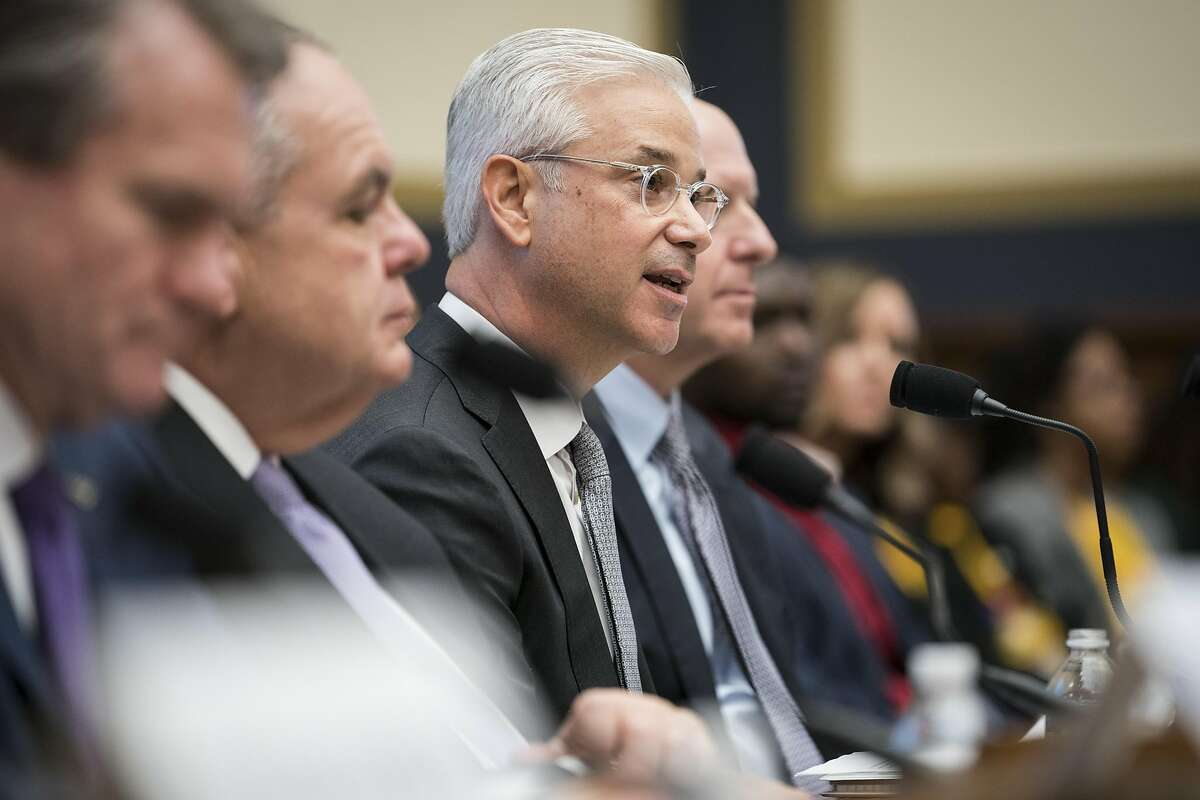 FILE-- Charles Scharf, then the chairman and chief executive of Bank of New York Mellon, testifies alongside other bank executives at House Financial Services Committee hearing on Capitol Hill in Washington, April 10, 2019. Wells Fargo, the scandal-plagued bank that has spent months searching for a new chief executive, announced on Sept. 27, 2019, that Scharf, the longtime banking veteran, had agreed to take the post. (Sarah Silbiger/The New York Times)