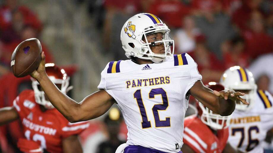 Prairie View A&M quarterback Jalen Morton (12) throws a pass during the first half of an NCAA college football game against Houston, Saturday. Sept. 7, 2019, in Houston. (AP Photo/Eric Christian Smith) Photo: Eric Christian Smith, Associated Press / Copyright 2019 The Associated Press. All rights reserved.