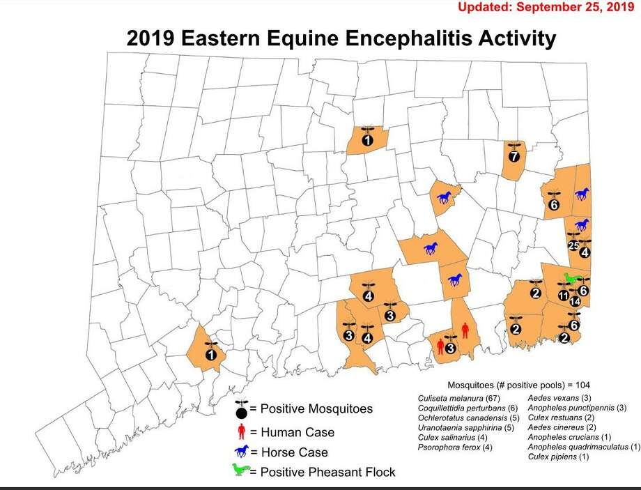A map of Eastern Equine Encephalitis activity in Connecticut, as of Sept. 25, 2019. Photo: Connecticut Agricultural Experiment Station