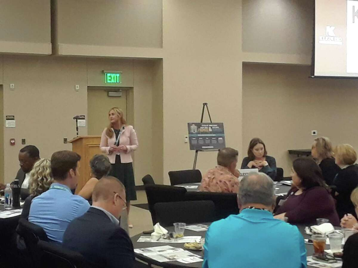 Jenny McGown, Klein ISD superintendent, speaks to members of the Klein Leadership Coalition during a meeting on Sept. 26, 2019.