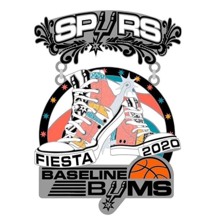 The Spurs Baseline Bums unveiled their 2020 Fiesta medal design this week, revealing its decked out throwback colors that has a splash of glitter on a pair of sneakers and more. Photo: Spurs Baseline Bums