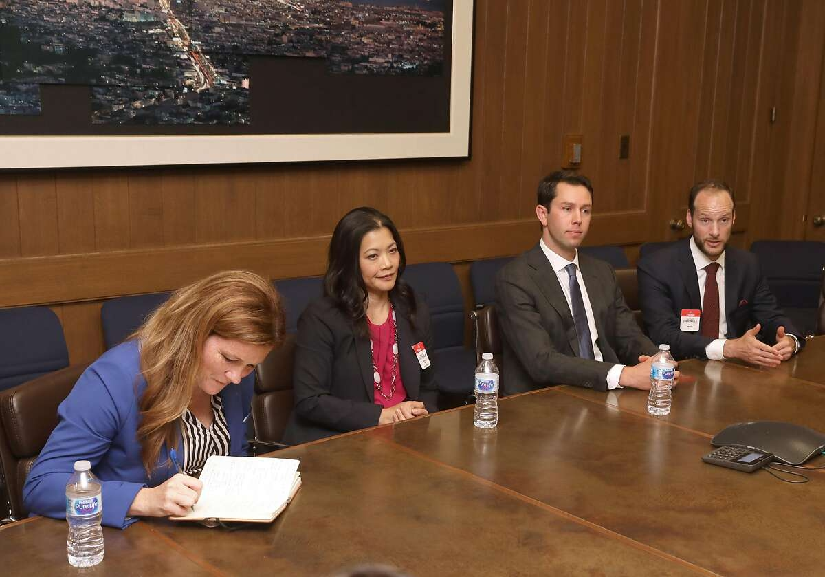 Candidates for district attorney left to right�Suzy Loftus, Nancy Tung, Leif Dautch, and Chesa Boudin come to an editorial board meeting at the San Francisco Chronicle on Wednesday, September 25, 2019, in San Francisco, Calif.