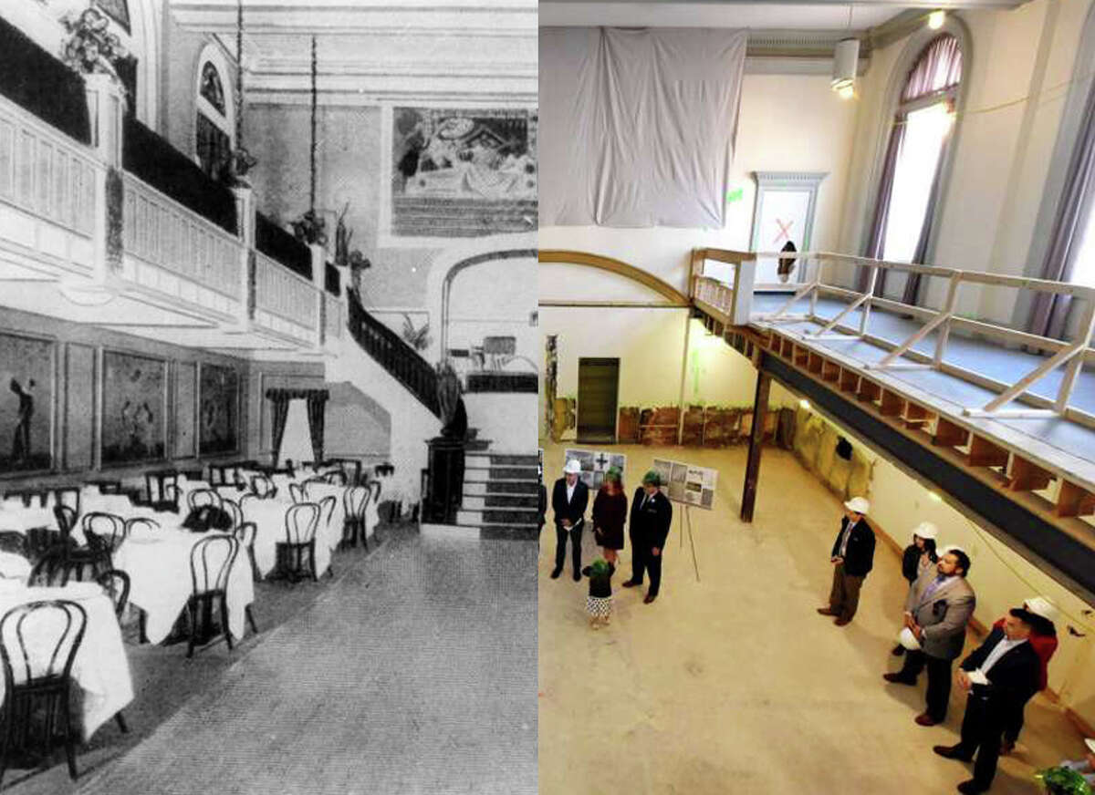 Left: Kenmore Hotel, Albany. Located at the corner of North Pearl Street and Colombia Street. Rain Bo Room. Undated. (Times Union Archive) Right: Jeff Buell, principal of Redburn Development, speaks during a media event to announce that the Kenmore Ballroom, a wedding and special events venue, will be run by Katie O'Malley and her husband, Nate Maloney, on Friday, Sept. 27, 2019, at the Kenmore Building in Albany, N.Y. The venue, once known as the Rain-bo-Room, can accommodate up to 300 people for seated functions. (Will Waldron/Times Union)
