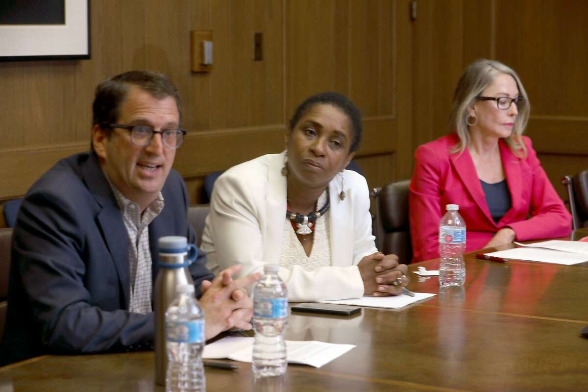 Candidates running for SF supervisor in District 5 are Dean Preston (left), Nomvula O'Meara (middle), and supervisor Vallie Brown (right) as they speak at an editorial board meeting at the San Francisco Chronicle on Tuesday, Sept. 17, 2019 in San Francisco, Calif.