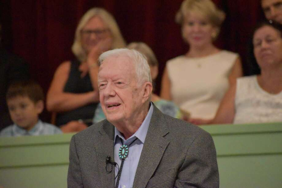 On a recent summer morning, President Jimmy Carter alluded to the Book of Matthew as a teaching tool for the Sunday School class he teaches at Maranatha Baptist Church near Plains. He teaches the class frequently, his schedule posted online at the church's website. Photo: Mary Ann Anderson, HO / TNS / TNS