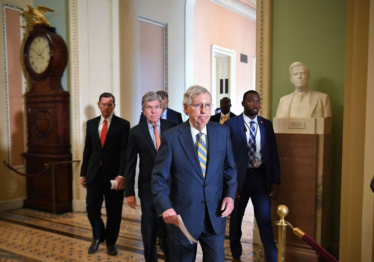 Senate Majority Leader Mitch McConnell, R-KY, arrives at a lectern to speak to reporters following the Republican policy luncheon at the US Capitol in Washington, DC on September 24, 2019. (Photo by MANDEL NGAN / AFP)MANDEL NGAN/AFP/Getty Images