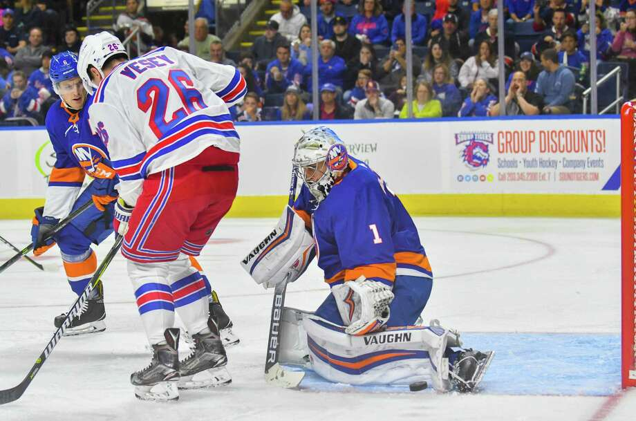 Goalie Thomas Greiss (1) of the New York Islanders makes a pad save during a pre-season game against the New York Rangers on September 22, 2018 at Webster Bank Arena in Bridgeport, Connecticut. Photo: Gregory Vasil / For Hearst Connecticut Media / Connecticut Post Freelance