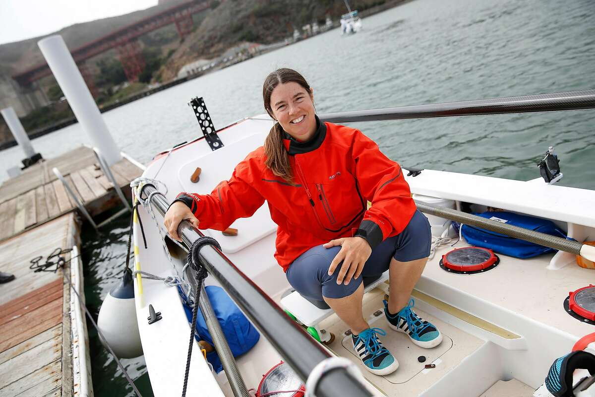 Long-distance ocean rower Lia Ditton sits for a portrait with her boat at Travis Marina on Friday, September 27, 2019 in Sausalito, CA.