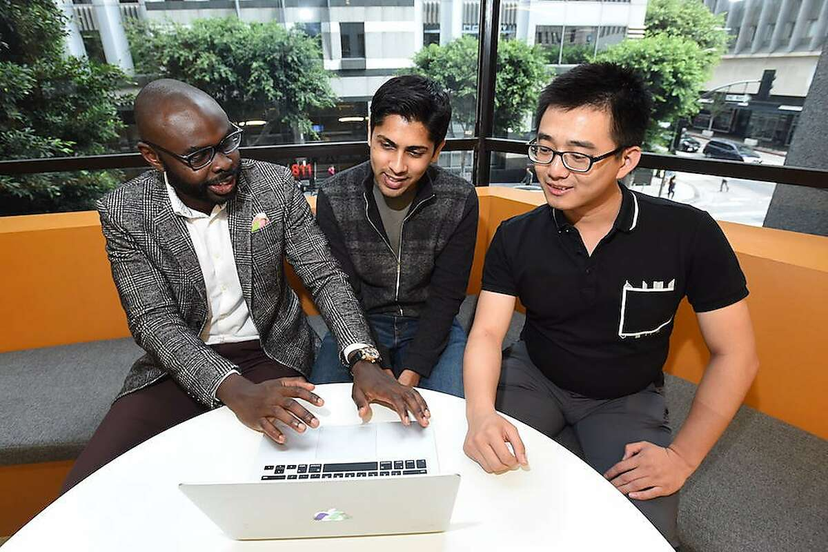 Ade Adesanya (left), Harsh Vathsangam (center), and Shuo Qiao (right), are the founders of Moving Analytics, a Los Angeles company creating tech tools for cardiac patients. All three are immigrants, and they are an example of how innovation in health care is likely to come from immigrants who settle in California.