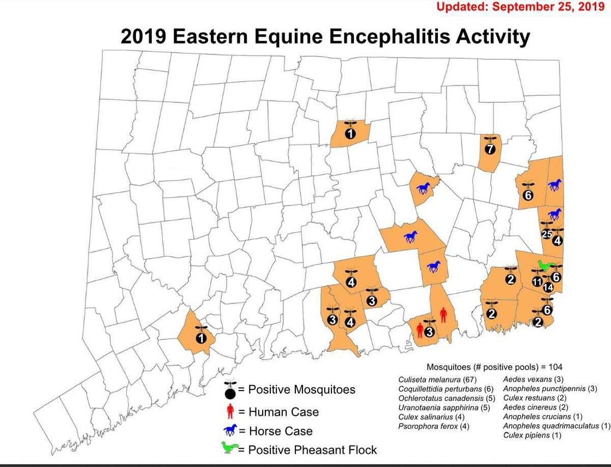 A map of Eastern Equine Encephalitis activity in Connecticut, as of Sept. 25, 2019.