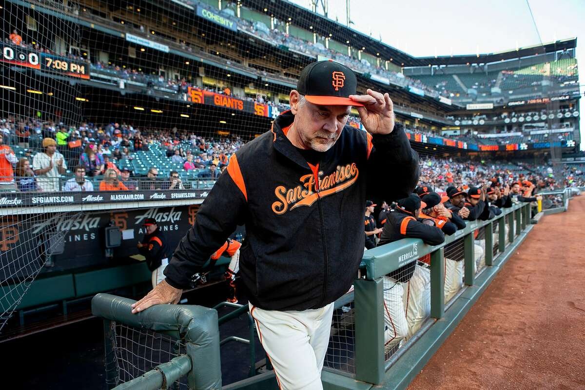 San Francisco Giants manager Bruce Bochy tips his hat as he�s honored for his 1,000th win before an MLB game against the Los Angeles Dodgers on Friday, June 7, 2019, in San Francisco, Calif. Bochy got his 1,000th win against the New York Mets on June 4 at Citi Field in New York City. The Giants won 2-1 against the Dodgers tonight for Bochy�s 1,001 win.