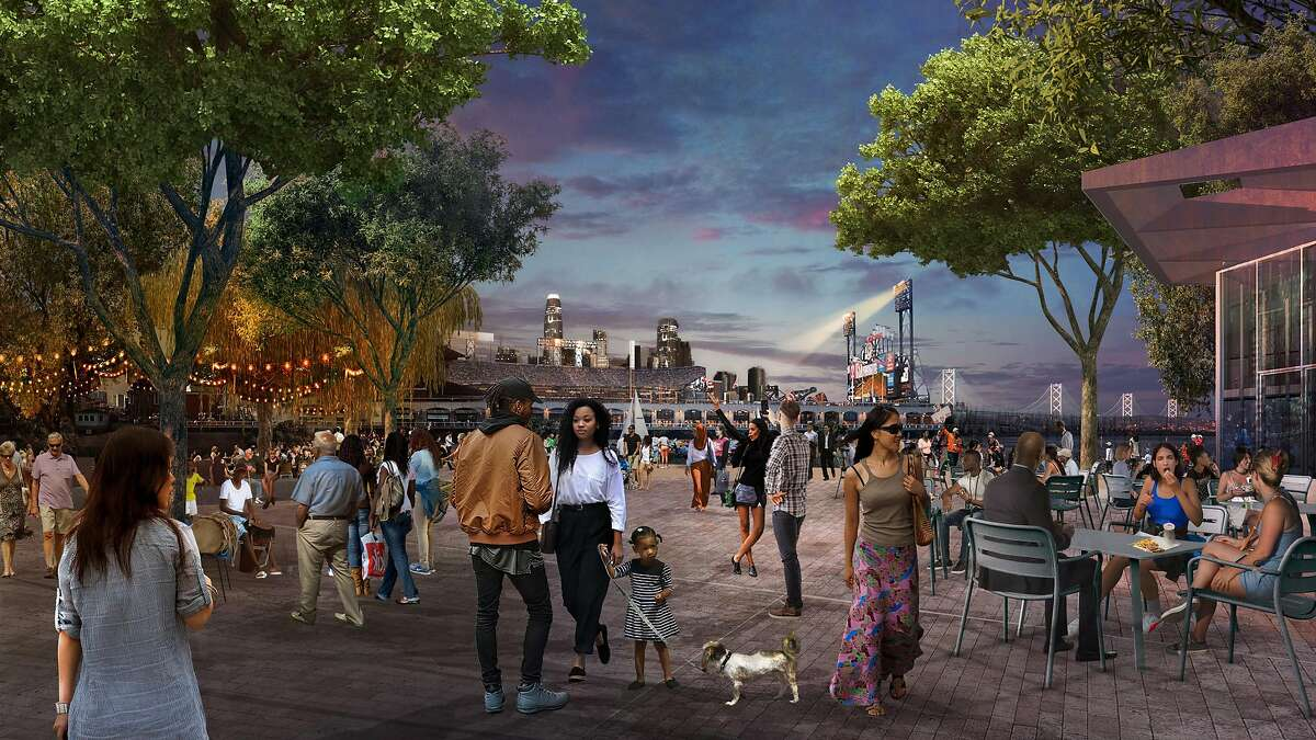 A rendering of the central plaza within China Basin Park, a 5-acre space that would meet McCovey Cove and be a major attraction within the 28-acre Mission Rock development planned by the San Francisco Giants and Tishman Speyer. Work on the project's first phase, which will include the park and four large buildings, is scheduled to begin in early 2020.