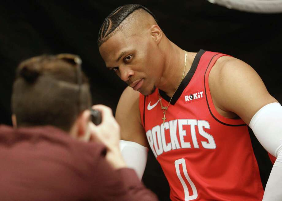 PHOTOS: Houston Rockets 2019 training camp roster Houston Rockets guard Russell Westbrook (0) poses for a photo during Houston Rockets Media Day on Friday, Sept. 27, 2019, in Houston. >>>Get to know each player on the Houston Rockets' 2019 training camp roster ... Photo: Jon Shapley, Staff Photographer / Staff Photographer / © 2019 Houston Chronicle