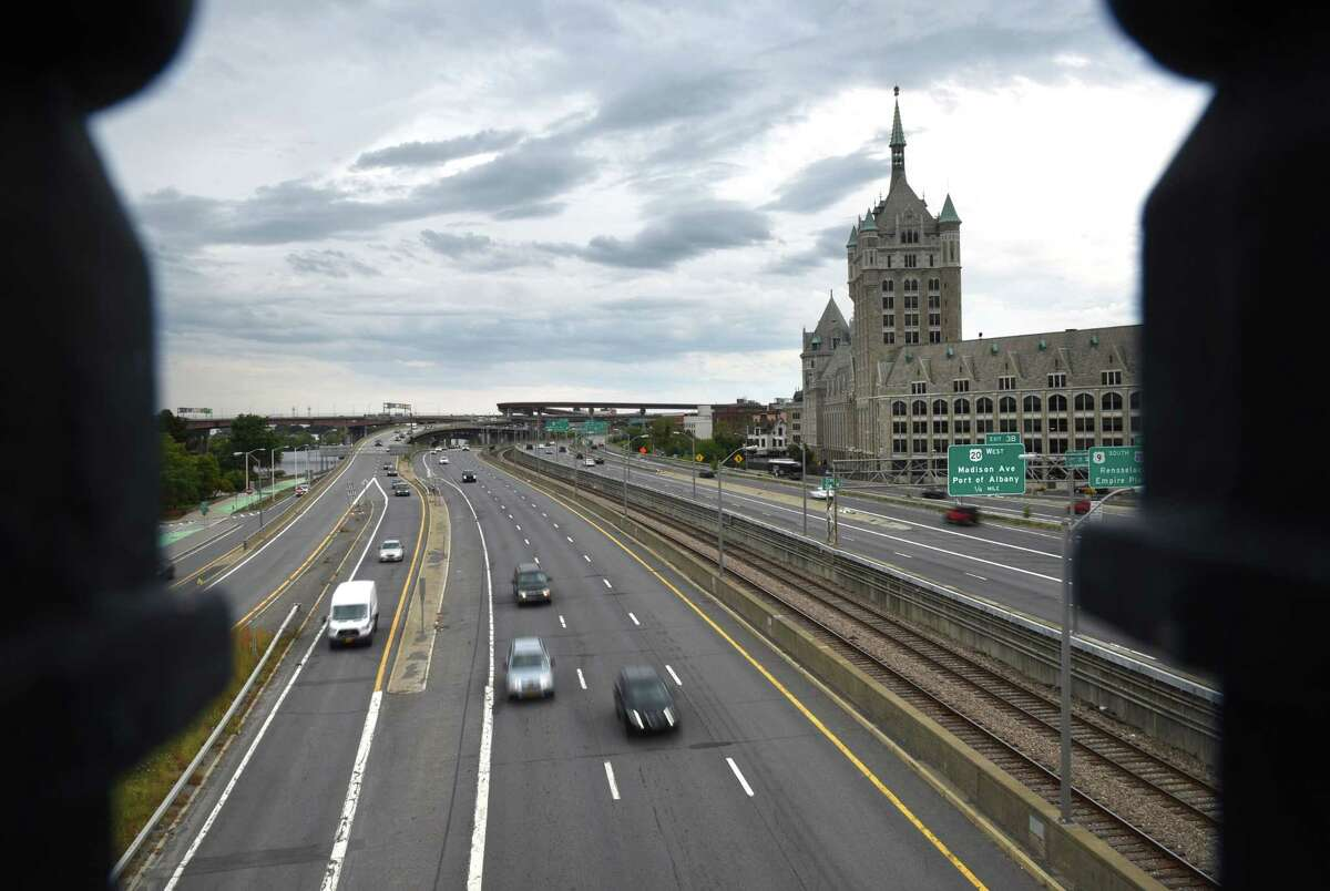 Traffic moves along I-787 through downtown Albany on Monday afternoon, Sept. 23, 2019, in Albany, N.Y. (Will Waldron/Times Union)