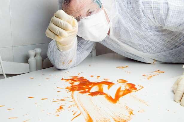 forensic examining bloody false eyelash