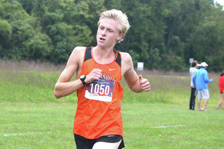 Edwardsville senior Jack Pifer is on his way to a first-place finish in the Edwardsville Invitational on Sept. 21 at SIUE. Photo: Scott Marion/The Intelligencer