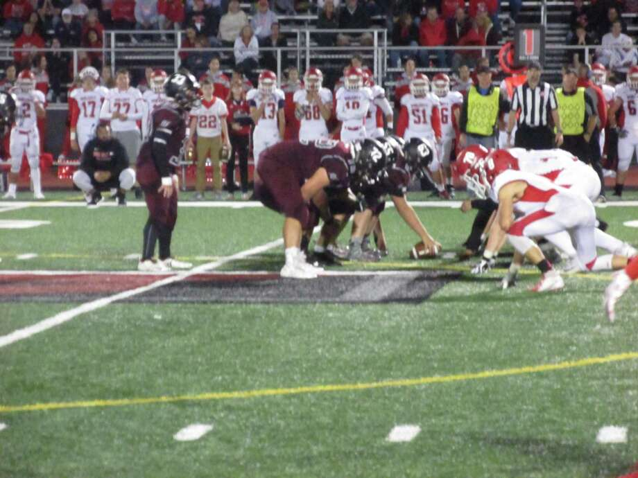 Torrington's interior line out-quicked a bigger Wolcott defensive line for a big win at the Robert H. Frost Sports Complex in Torrington on Friday, Sept. 27, 2019. Photo: Peter Wallace / For Hearst Connecticut Media