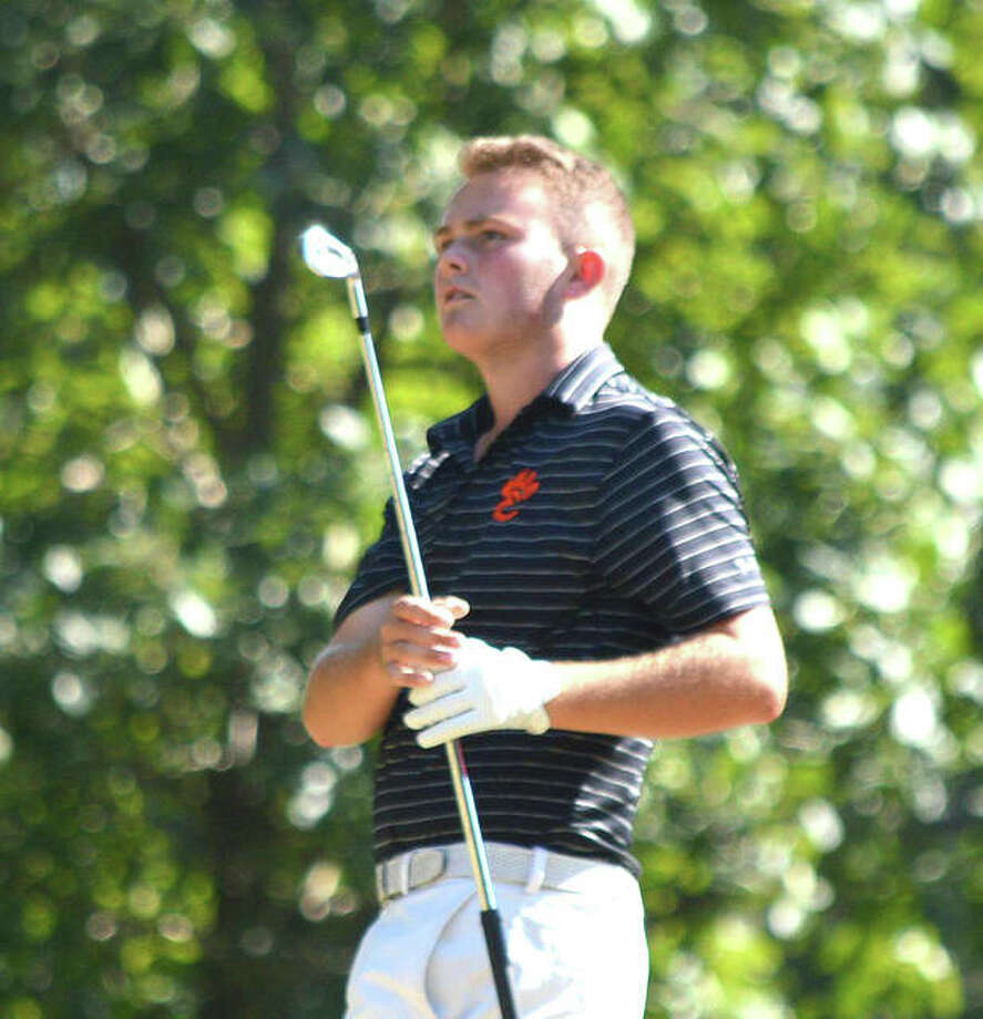 Edwardsville's Ian Bailey watches the flight of his tee shot at hole No. 4 at Oak Brook Golf Club during Friday's Dick Gerber Invitational. Photo: Scott Marion | For The Telegraph