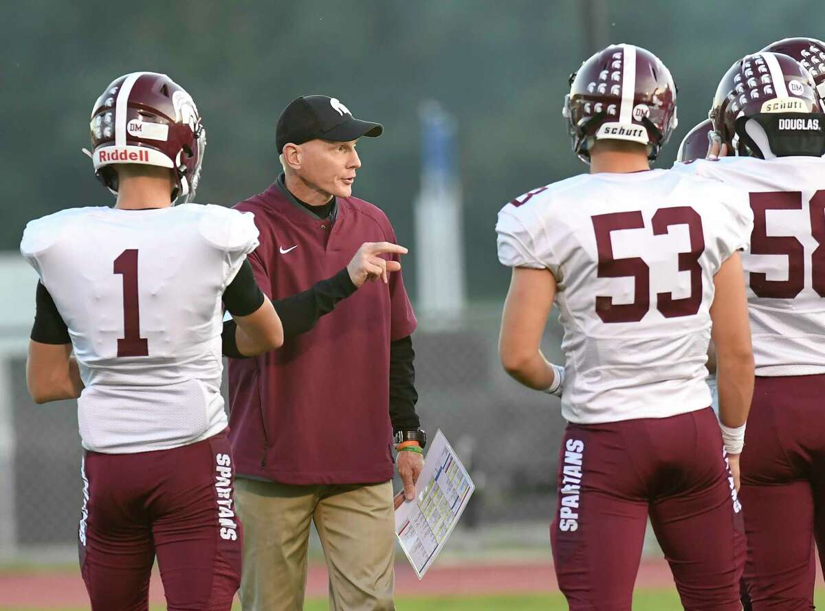 Burnt Hills-Ballston Lake head coach Matt Shell coaches his players against Ballston Spa during a Section II high school football game in Ballston Spa, N.Y., Friday, Sept. 27, 2019. (Hans Pennink / Special to the Times Union)