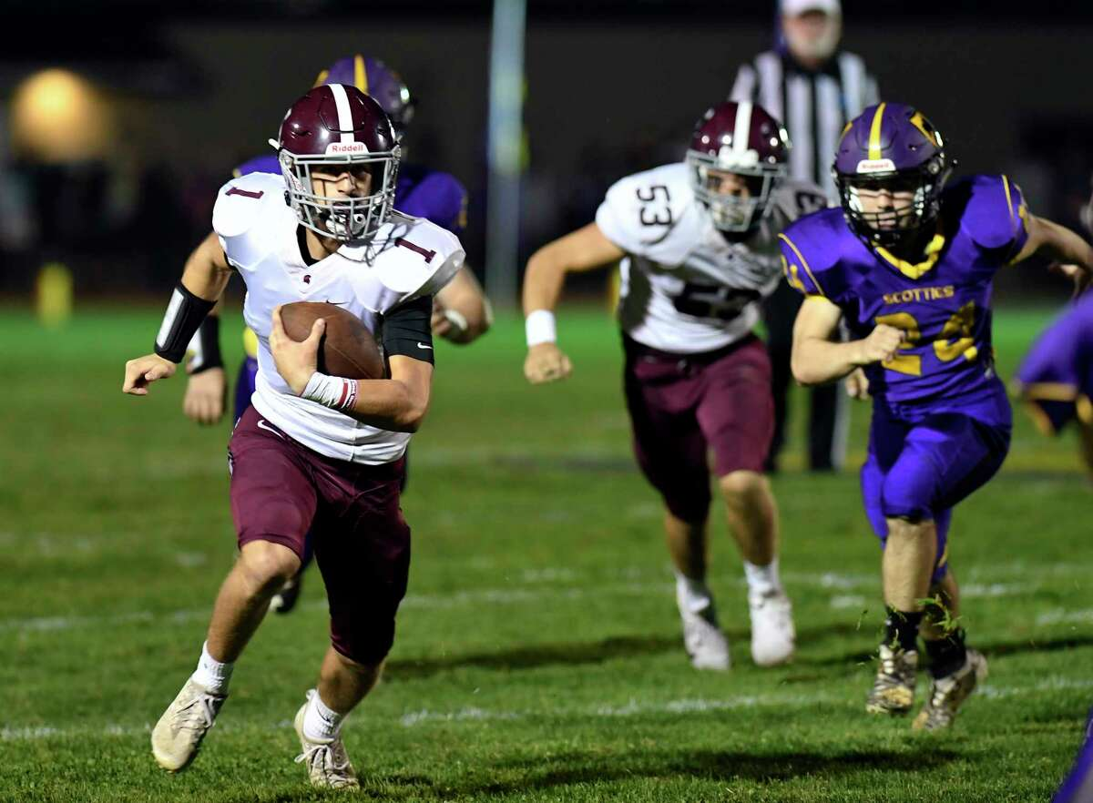 Burnt Hills-Ballston Lake quarterback Ryan Salisbury (1) runs with the ball against Ballston Spa before leaving the game in the first quarter with a lower leg injury during a Section II high school football game in Ballston Spa, N.Y., Friday, Sept. 27, 2019. (Hans Pennink / Special to the Times Union)