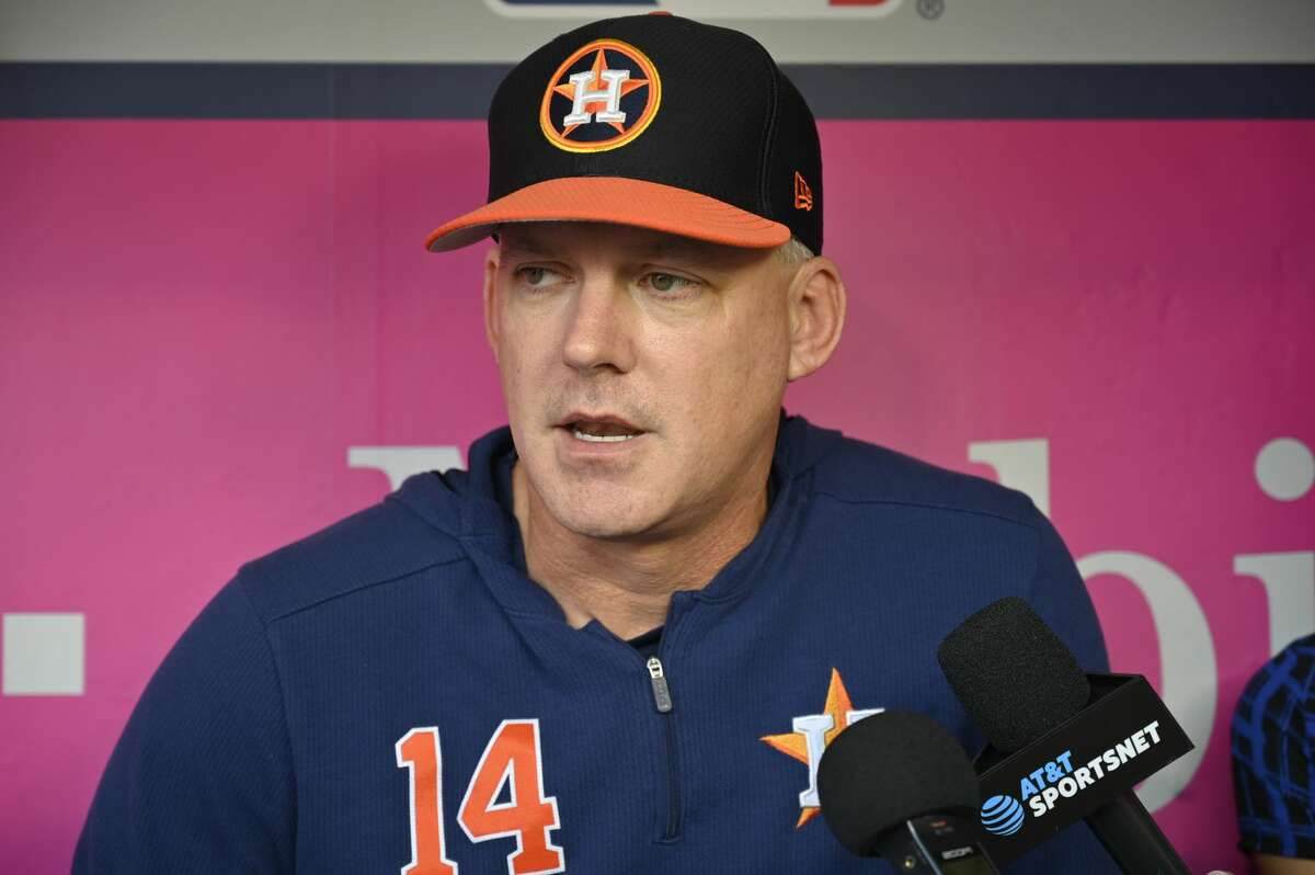 ANAHEIM, CA - SEPTEMBER 27: Manager AJ Hinch #14 of the Houston Astros during batting practice before a game against the Los Angeles Angels at Angel Stadium of Anaheim on September 27, 2019 in Anaheim, California. (Photo by John McCoy/Getty Images)
