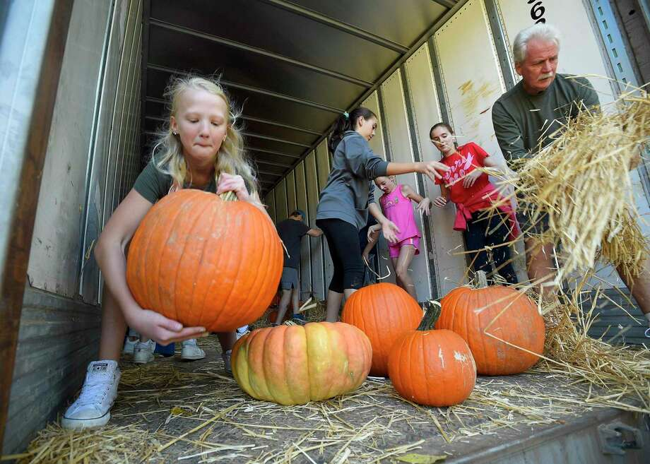 "Ava Carney, 11, joins with volunteers as they unload over 3,000 assorted pumpkins of various sizes at St. John's Lutheran Church in Stamford, Conn. on Sept. 28, 2019. The church took delivery of 45,000 pounds of pumpkins from the Navajo Nation, that were shipped in from Northern New Mexico, to set up their annual Fall pumpkin patch, ""Pumpkins for a Purpose"". The church hopes to raise over $10,000 in proceeds, which goes to help non-profits and food pantry's across Fairfield County. Photo: Matthew Brown / Hearst Connecticut Media / Stamford Advocate"