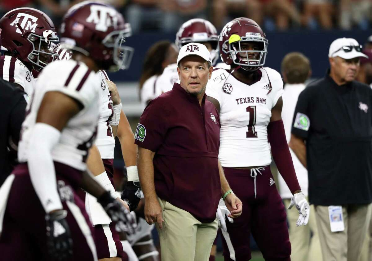 ARLINGTON, TEXAS - SEPTEMBER 28: Head coach Jimbo Fisher of the Texas A&M Aggies before a game against the Arkansas Razorbacks during the Southwest Classic at AT&T Stadium on September 28, 2019 in Arlington, Texas.