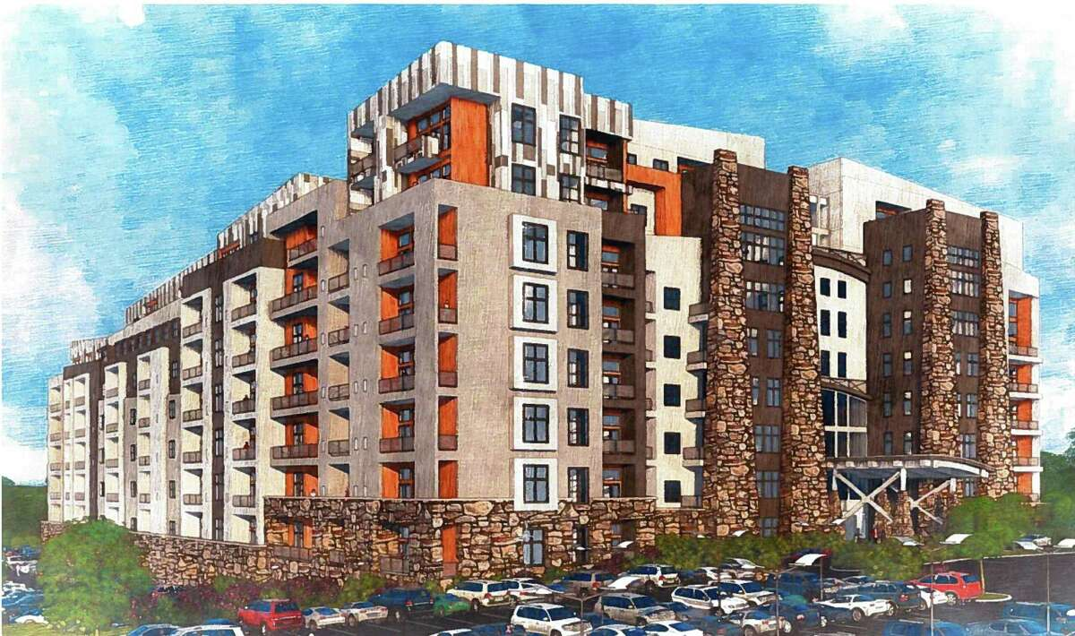 FILE PHOTO: Towne Center at Shelter Ridge, a planned community with apartments, retail, restaurants and possibly a medical building and assisted-living center proposed for Bridgeport Ave. in Shelton, Conn.