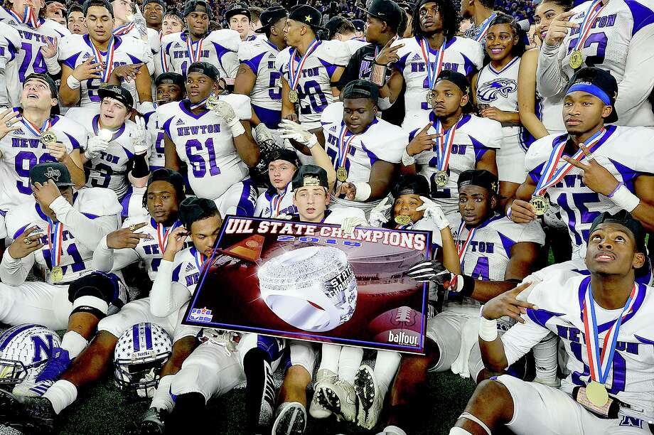 Newton's Eagles celebrate after defeating Candian during their state final Class 3A Div. II game at AT&T Stadium.  Photo taken Thursday, December 20, 2018  Kim Brent/The Enterprise Photo: Kim Brent / The Enterprise / BEN