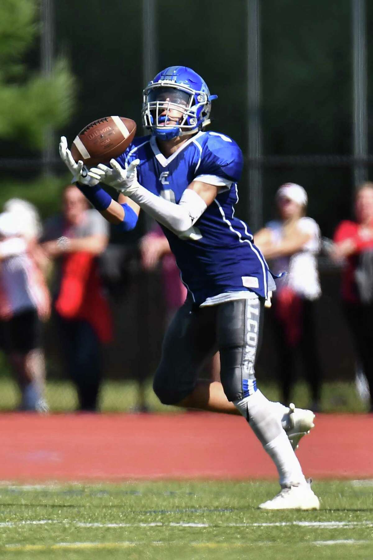 Football action during a game between the Fairfield Prep Jesuits and the Fairfield Ludlowe Falcons played on Saturday September 28th 2019 at Fairfield Ludlowe High School in Fairfield, CT.