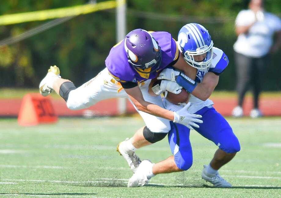 Darien defeated Westhill 48-0 in an FCIAC football game at Westhill High School's J. Walter Kennedy Stadium on Sept. 28, 2019 in Stamford, Connecticut. Photo: Matthew Brown / Hearst Connecticut Media / Stamford Advocate