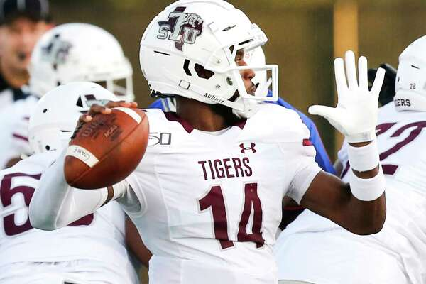 Texas Southern Tigers quarterback De'Andre Johnson (14) gets ready to throw the ball in the first quarter against Houston Baptist University on Saturday, Sept. 28, 2019 in Houston.