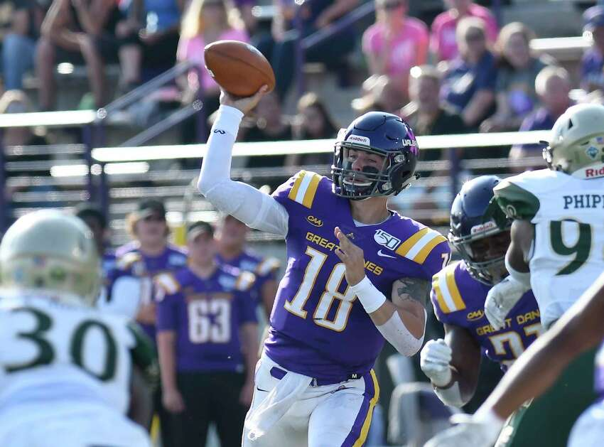 University at Albany quarterback Jeff Undercuffler (18) throws a pass against William & Mary during the first half of an NCAA college football game Saturday, Sept. 28, 2019, in Albany, N.Y.