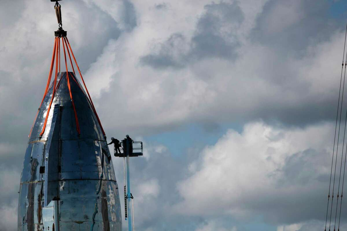 Work is being done on SpaceX's Starship Mk1 top half on Friday, Sept. 27, 2019, in Boca Chica ahead of the unveiling of the latest design.