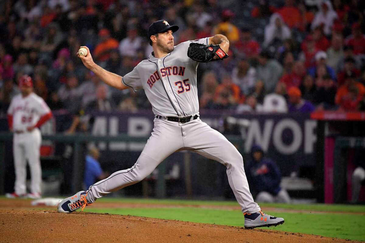 Houston Astros starting pitcher Justin Verlander throws to the plate during the first inning of a baseball game against the Los Angeles Angels, Saturday, Sept. 28, 2019, in Anaheim, Calif. (AP Photo/Mark J. Terrill)