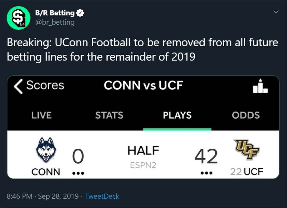 Reaction to Saturday's 56-21 loss by UConn to UCF. The Huskies trailed 42-0 at halftime. Photo: Twitter