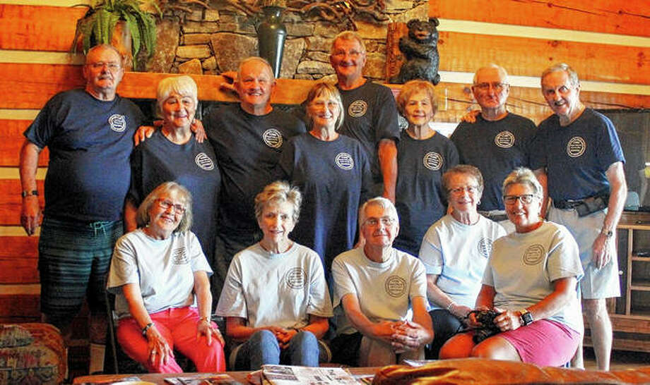 The Cors siblings — children of the late Joseph G. Cors, who died in May 1999, and Nellie M. Cors, who died in September 1992 — held their bi-annual reunion in early September in Maggie Valley, North Carolina. The siblings were raised at 807 S. Main St. in Jacksonville, Illinois, after moving in 1950 from Herrin, Illinois. They all attended Our Saviour School and Routt Catholic High School. Of Joseph and Nellie's 11 children, eight still are living, though most of them have moved away from Jacksonville. Past reunions, continuing a tradition started by Joseph, have been held in Jacksonville (2013), in Las Vegas, at Lake Tahoe and in Williamsburg, Virginia. Those attending this year's reunion include siblings Tom (back row, from left), Carolyn Dowis, Bill, Judy, Ken, Marilyn Pomeroy, Joe and Ted; and their spouses, Ellen (Joe) (seated, from left), Anne (Ted), Ken Pomeroy, Sandy (Bill) and Connie (Ken). Photo: Photo Submitted