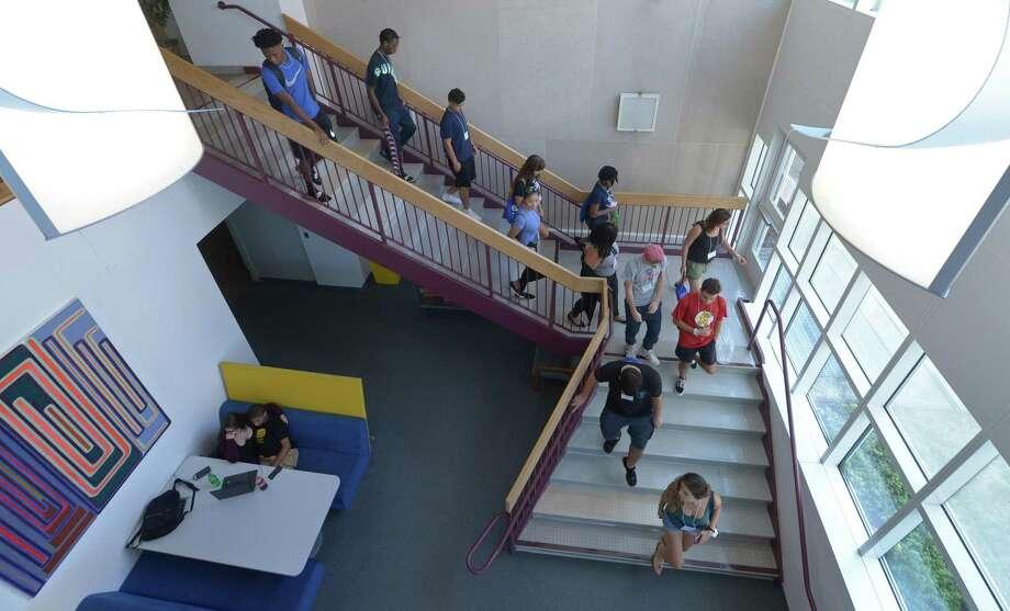 New students to Norwalk Community College tour the campus during student orientation on Aug. 23. Photo: Erik Trautmann / Hearst Connecticut Media / Norwalk Hour