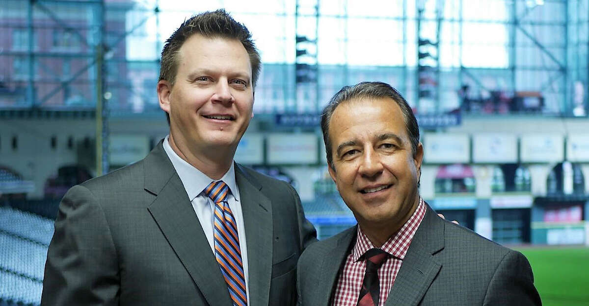 Because of the coronavirus pandemic, Astros TV play-by-play broadcaster Todd Kalas (right) and analyst Geoff Blum will call the Astros' road games from a studio in downtown Houston.